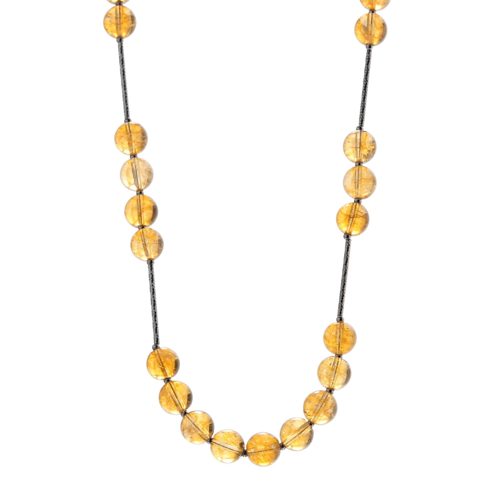 天然黄水晶配石榴石银制项链
