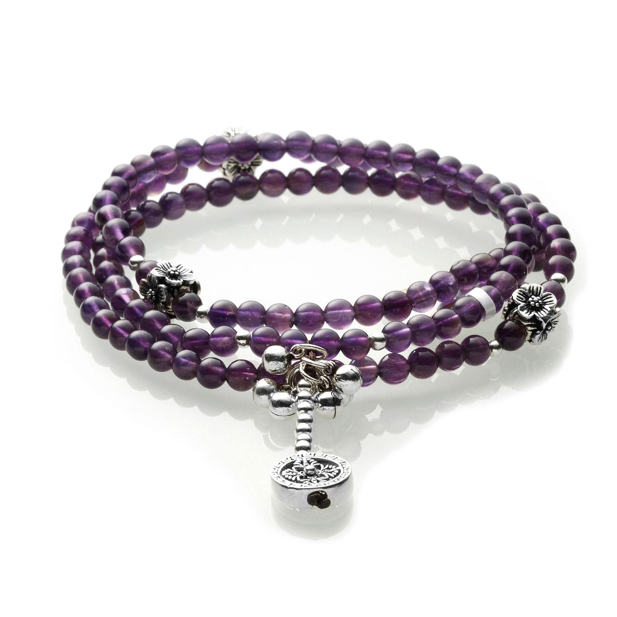 天然紫水晶配925银饰长串