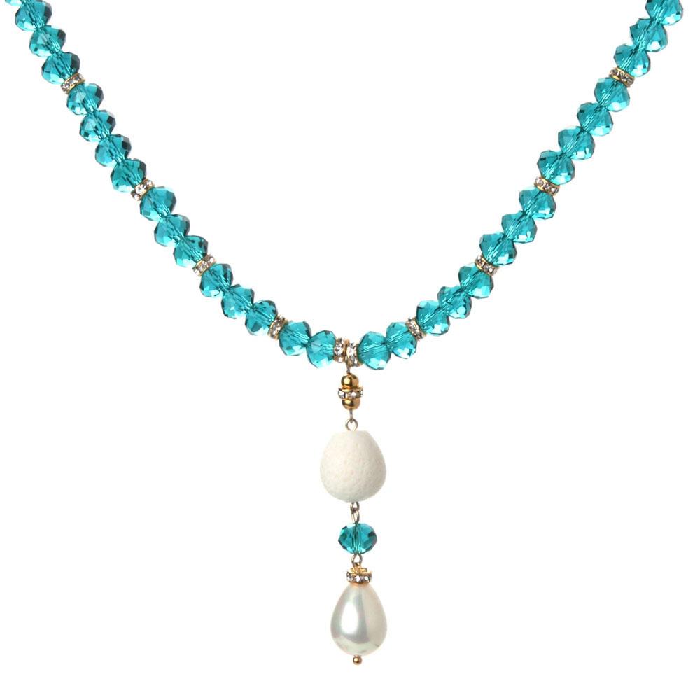天然翠绿水晶贝珠女士短项链