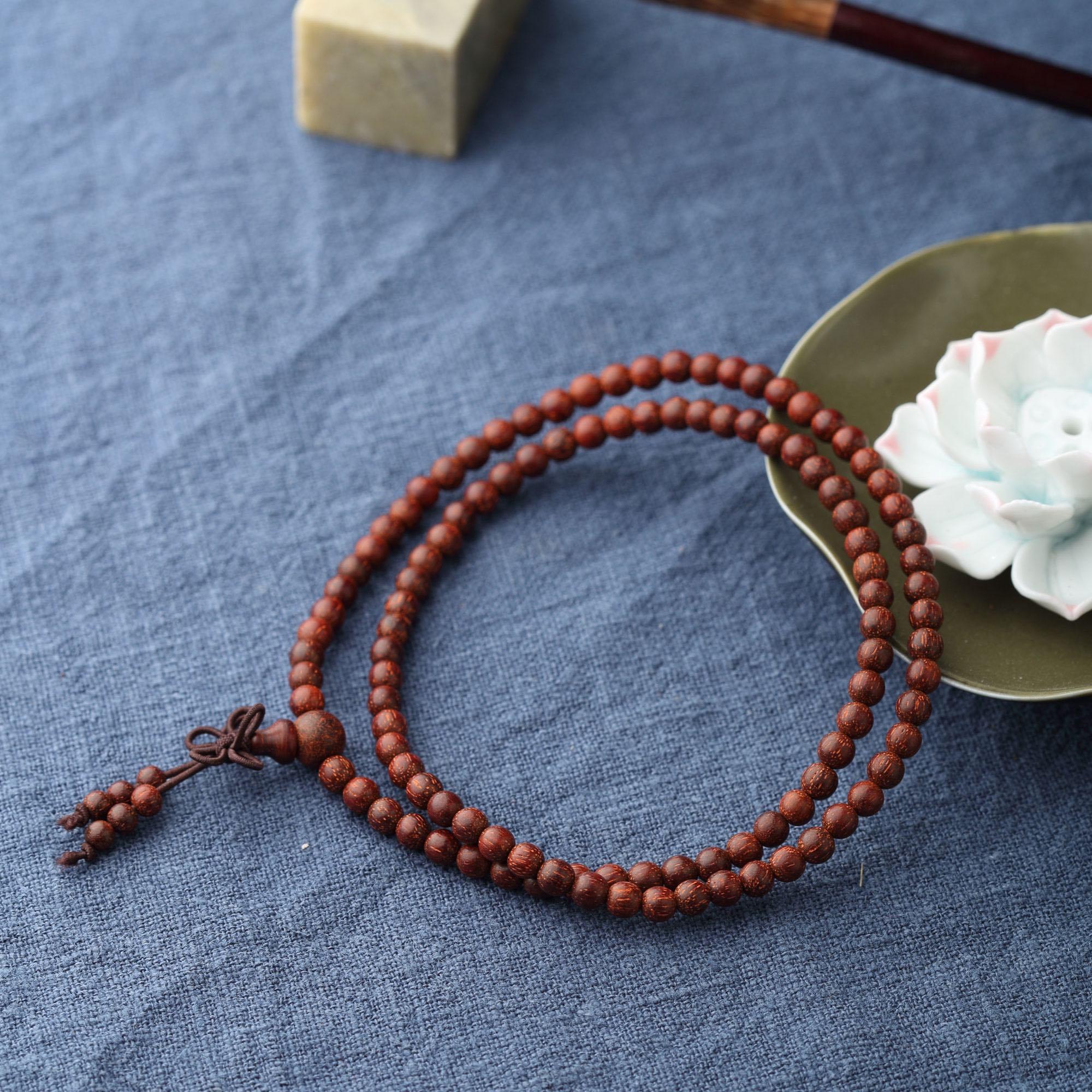 印度高密小叶紫檀素珠长串108颗