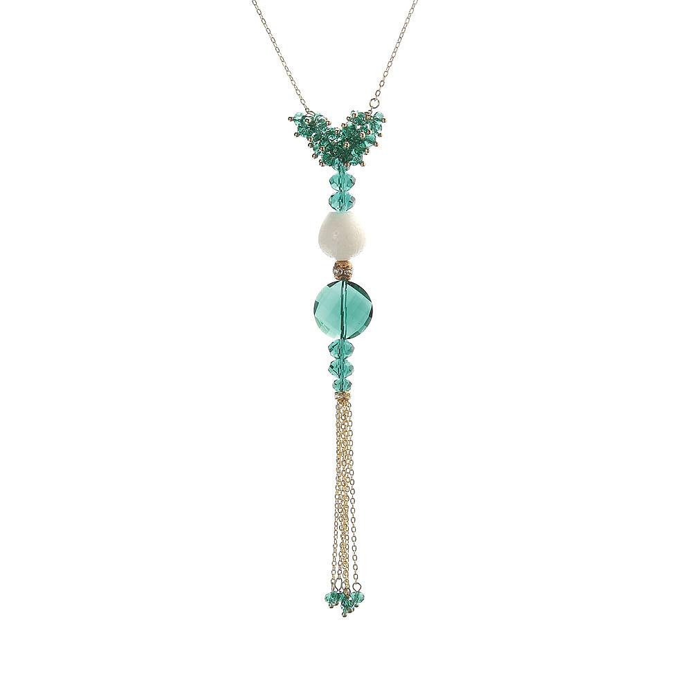 天然翠绿水晶砗磲女士流苏项链