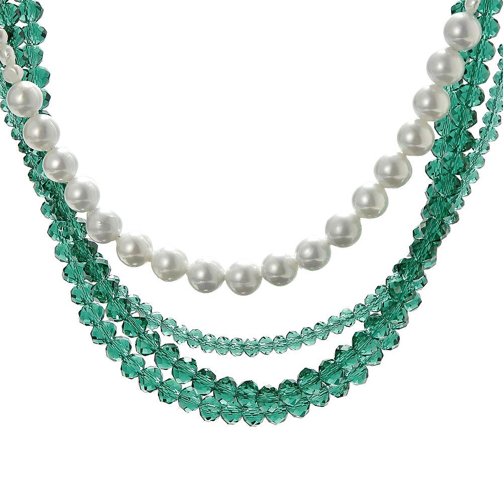 天然翠绿水晶珍珠女士多层项链