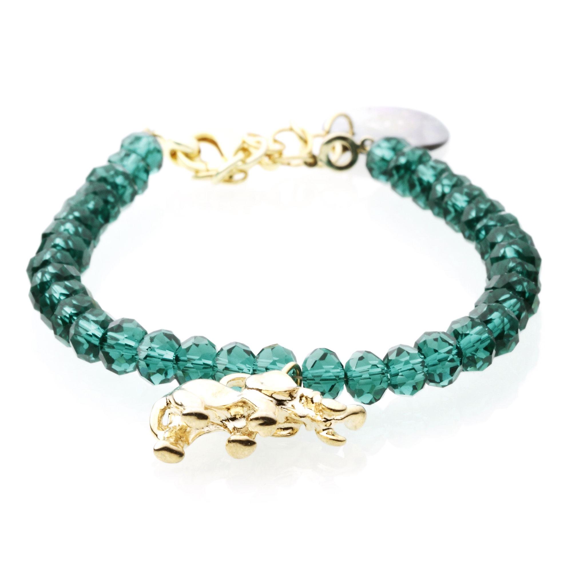天然翠绿水晶女士吉象手链